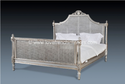 Isabelle Rattan Bed in Silver Leaf